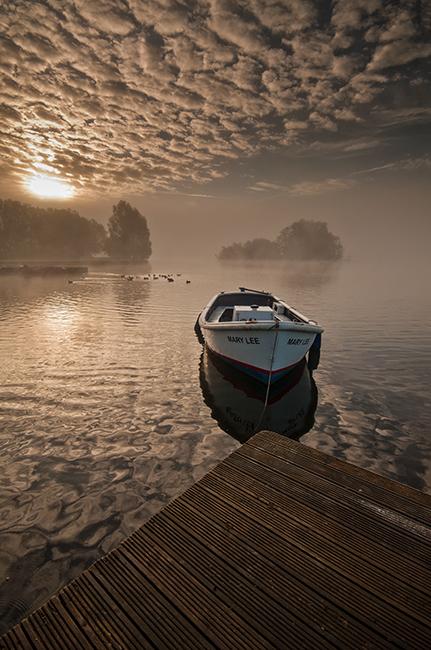 Llangorse Lake misty dawn
