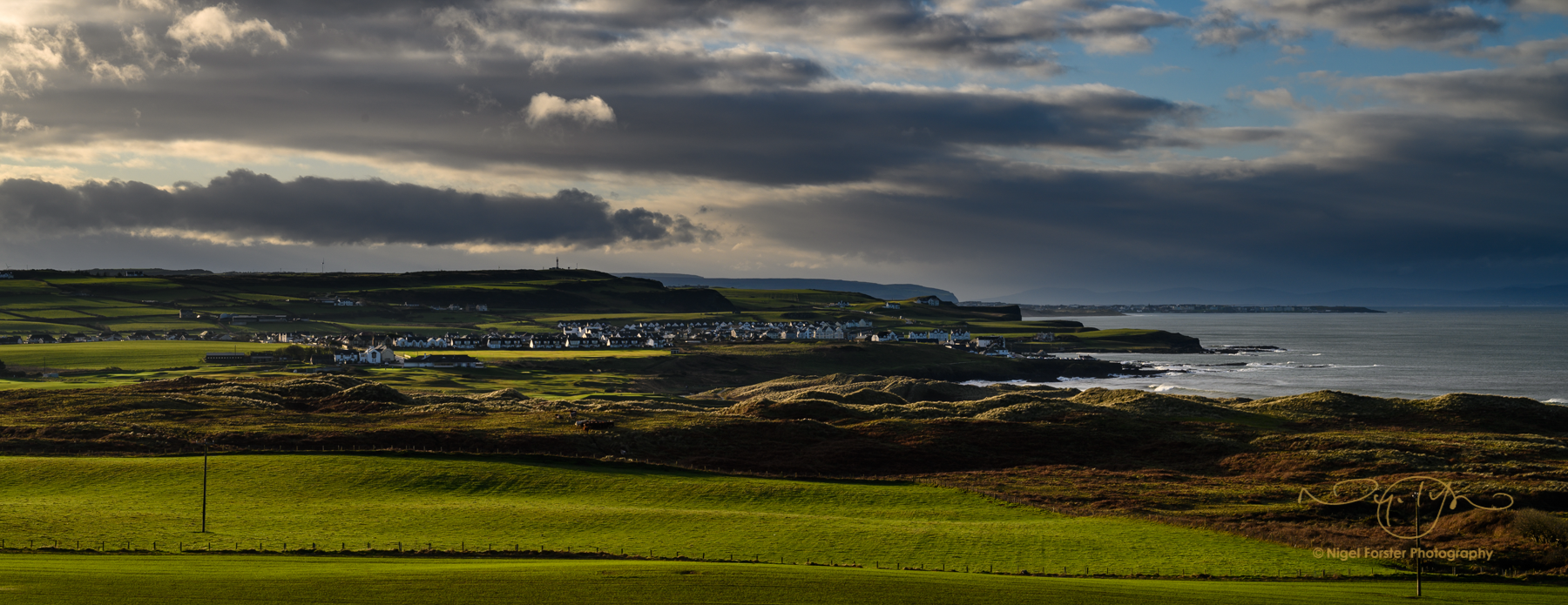My very first shot, looking west from Giants Causeway towards Portrush (home of last years British Open Golf Championship)